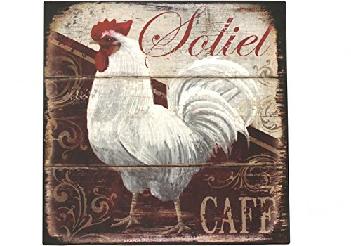 Happy Chickens, Rooster Metal Sign Plate, Vintage Art Plaque Poster Cafe Kitchen Dining Room Home Wall Decor (White)