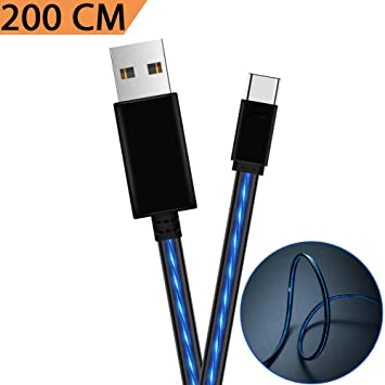 Cable Tipo USB C, Areson 6.6FT LED Cable USB a USB C Cable Cargador rápido para Samsung Galaxy S9 Note 8 S8 Plus, Google Pixel xl 2, LG G6 V20 V30, ...