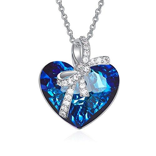 Bijours Heart Pendant Necklace Women - Crystal from Swarovki Fine Jewelry 5A Zircon Luxury Gift Box (Eternal Love)