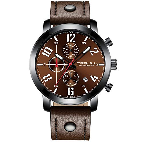 CRRJU Men's Waterproof Chronograph Business Wrist Watch, Luxury Army Date Analog Quartz Gift Watch for Men ()