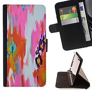 Momo Phone Case / Flip Funda de Cuero Case Cover - Pintura abstracta de la acuarela anaranjada rosada - Samsung Galaxy J1 J100