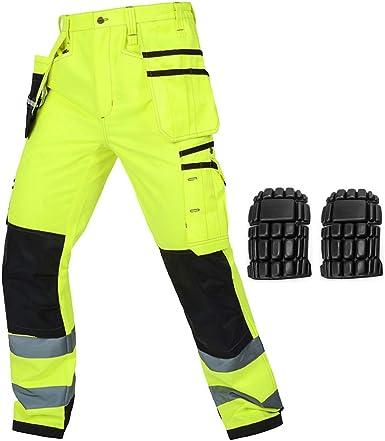 Amazon Com Takuey Pantalones De Trabajo Reflectantes Multibolsillos Con Rodilleras Resistentes A La Seguridad Clothing