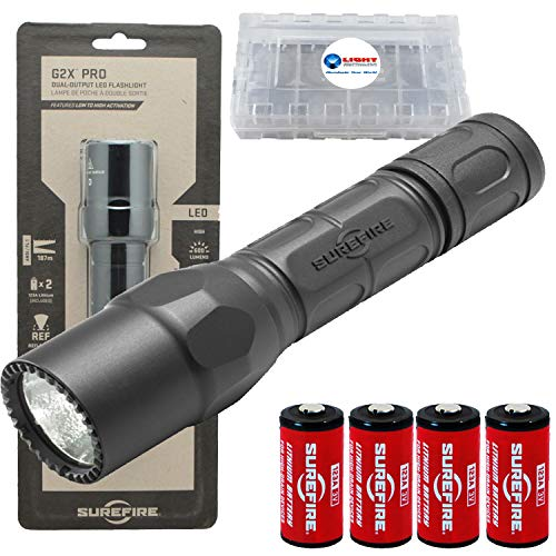 - SureFire G2X Pro 600 Lumen Tactical EDC Flashlight Bundle with 2 Extra CR123A Batteries and Lightjunction Battery Case (Black)