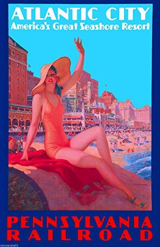MAGNET 1930s Atlantic City New Jersey Pennsylvania Travel Advertisement Art Magnet