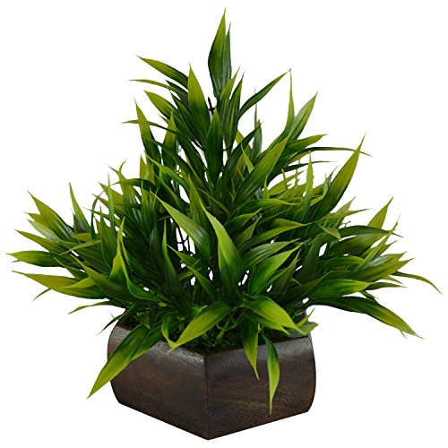 Green Artificial Bamboo Leaves Plant with Hexagon Pot by Fancy Mart