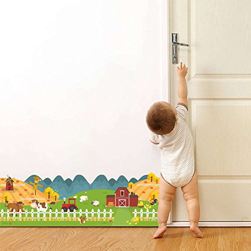 Cow Border - BIBITIME Farm Fence Border Wall Decal Animal Squirrel Cow Sheep Chick Hen Scarecrow Windmill Vinyl Sticker for Living Room Kitchen Bedroom Nursery Kids Room Decor PVC Art Mural