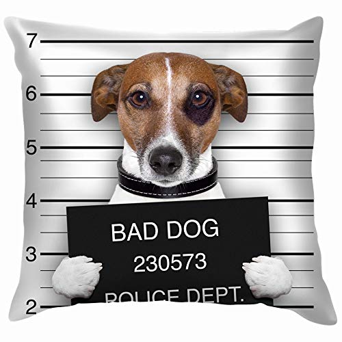 Mugshot Wanted Dog Holding Banner Animals Wildlife People Throw Pillows Covers Accent Home Sofa Cushion Cover Pillowcase Gift Decorative 12X12 Inch -