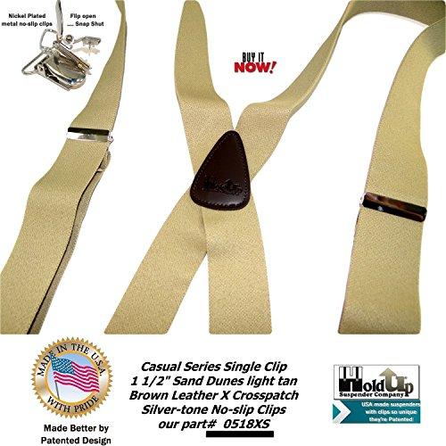 Holdup Suspender Company's Sand Dunes Tan Casual Series X-back Suspenders with Silver-tone No-slip Clips by Hold-Up Suspender Co. (Image #3)