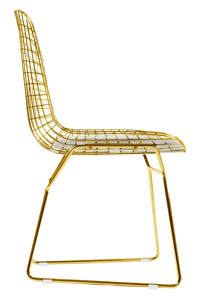 Amazon.com   Bertoia Style Side Chair In Gold Finish (White Pad)   Chairs
