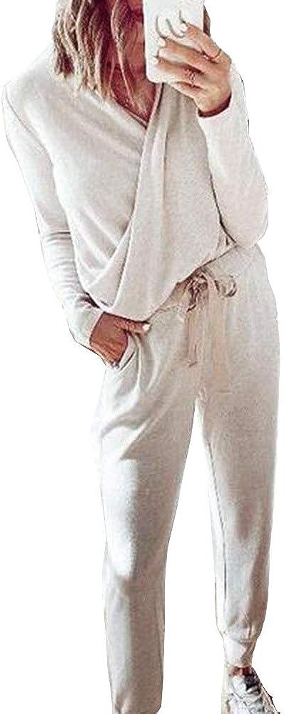 ORANDESIGNE Ch/ándales para Mujer Invierno Oto/ño Casual Conjuntos Deportivos Moda Manga Larga Pullover con Sudadera Tops Pantalones Largo 2pcs