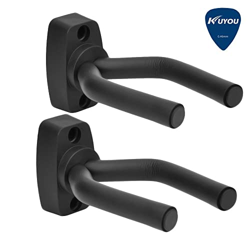 Guitar Wall Hangers Stands , KuYou Set of 2 Guitar Hangers Keep Hook Holder Wall Mount Fits all size Guitars