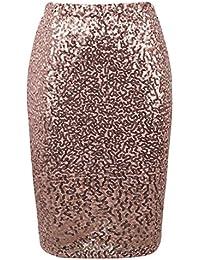b57cb3e56ab0 Women s Sequin Skirt High Waist Sparkle Pencil Skirt Party Cocktail