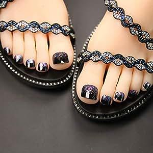 Amazon.com: 24 uñas postizas de dedo del pie para mujeres y ...
