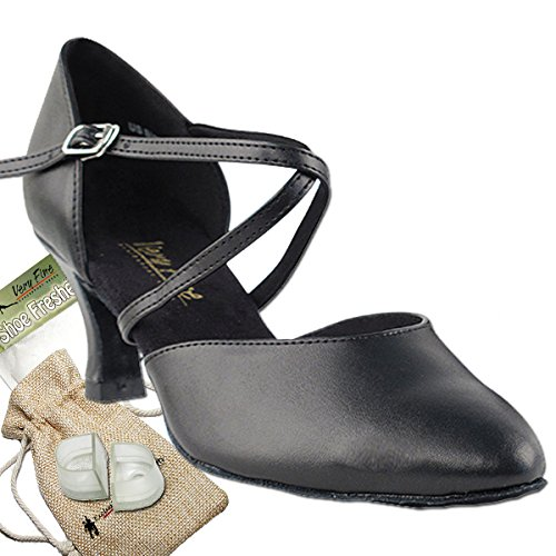 Women's Ballroom Dance Shoes Tango Wedding Salsa Dance Shoes Black Leather 9691EB Comfortable - Very Fine 2.5'' Heel 7 M US [Bundle 5] by Very Fine Dance Shoes