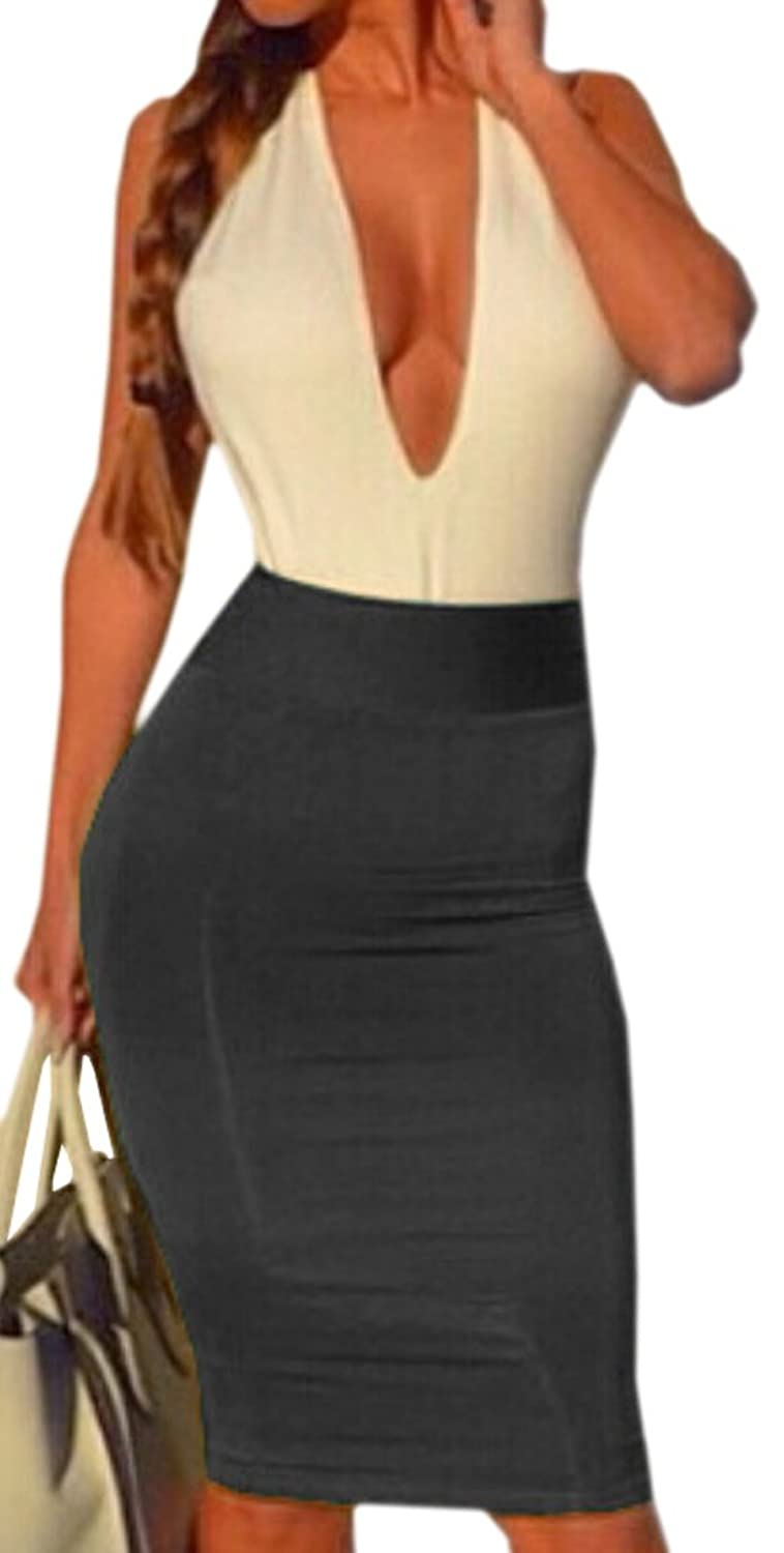 Unko Women's Sexy V-Neck Package Hip Elastic Bandage Dress