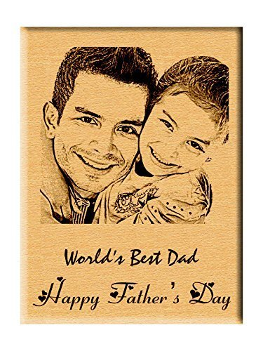 Incredible Gifts Father's Day Gift - Personalized Engraved Photo Plaque Wood(5x4 inches)Steam Beech