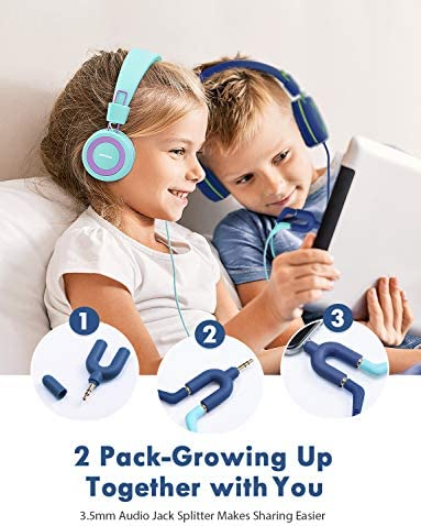 Mpow CH8 Kids Headphones 2-Pack , Foldable Wired Cord On-Ear Headsets, Safety Volume Limited, Comfortable and Durable Earphones w Audio Splitter for Toddlers Children School Travel Plane Boys Girls