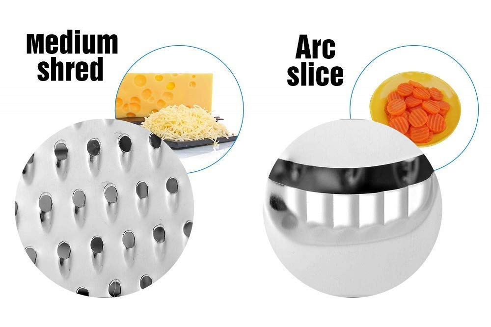 Non Slip Rubber Bottom Box Grater Six Sided Stainless Steel Rubber Handle or Cheese//Random Colors Shipped//Red -White -Black For Fruits Vegetables