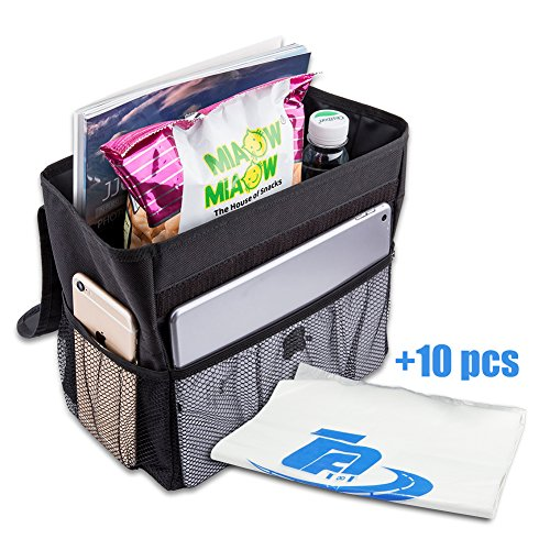 TPF Car Garbage Can Hanging Collapsible Car Seat Organizer Bag Leak Proof Auto Car Trash Bin Portable Recycling Litter Bag with Flip Open Lid Vehicle Trash Bag Black (Middle)