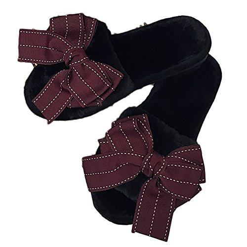 Ciabatta Donna Moda Bowknot Faux Fur Open Toe Pantofole Invernali Invernali Scarpe Morbide Nero Rosso