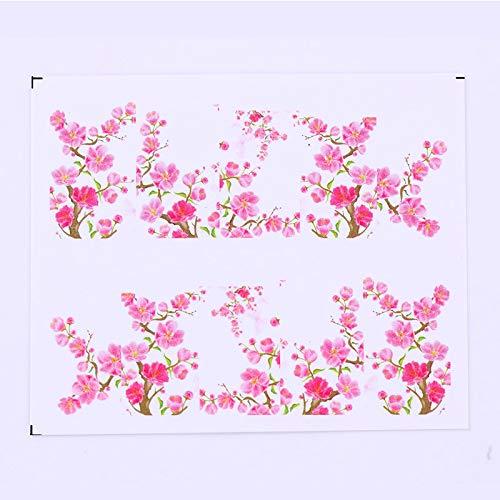 Haodou 48 Hojas Dise/ño Mixto Nuevo Arte U/ñas Pegatina Conjunto de Brillo Flor Calcoman/ía de Agua Regulador Secreto Decoraci/ón Manicura
