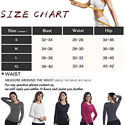 +MD Womens Compression Slimming Shirts and Undershirts for Tummy Waist and Bust Long Sleeves Thermal Underwear Round Neck at Women's Clothing store