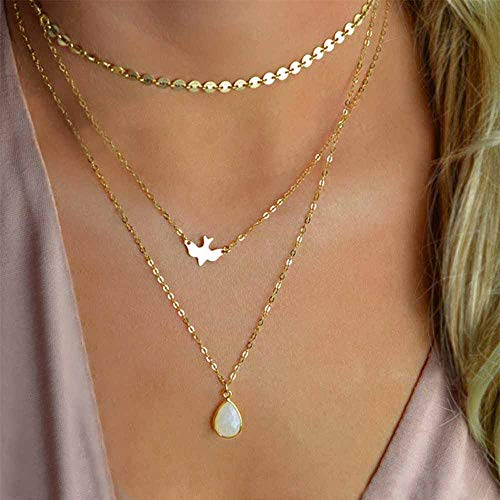 Jovono Boho Multilayered Sequins Choker Necklaces Water Drop Opal Dove Pendant Necklace for Women and Girls