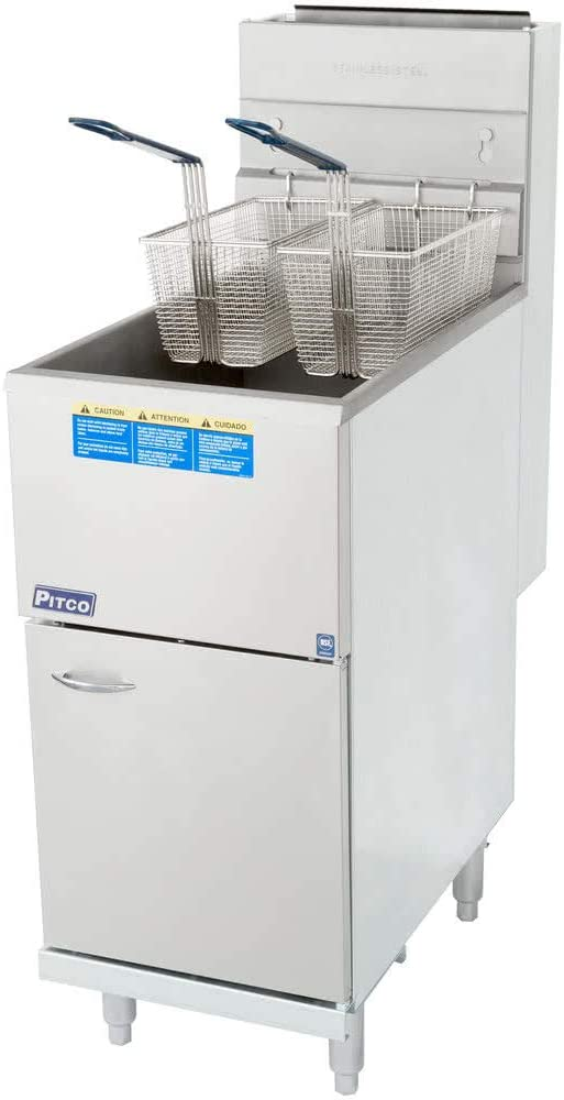 Propane Pitco 45C+S 42-50 lb. Stainless Steel Floor Fryer - 4 Tubes, 122,000 BTU