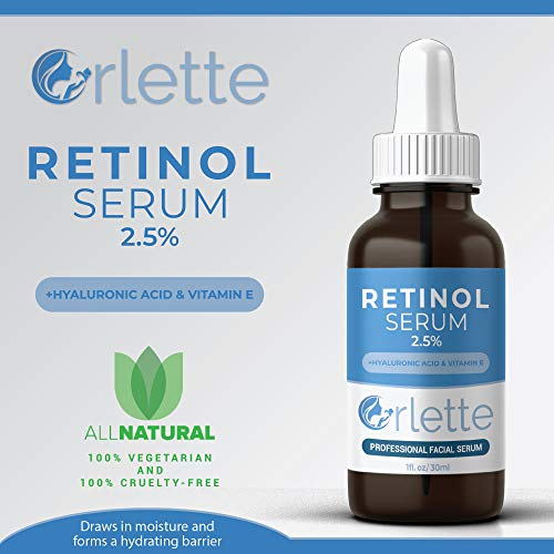 51E7GMfuOwL - Orlette Retinol Serum 2.5% - Professional Grade Skincare - Vitamin A and E, Hyaluronic Acid - Anti-Aging, Hydrating Skin and Face Moisturizer - Wrinkle, Acne Spot, Pigmentation, Blemish Remover - 30ml