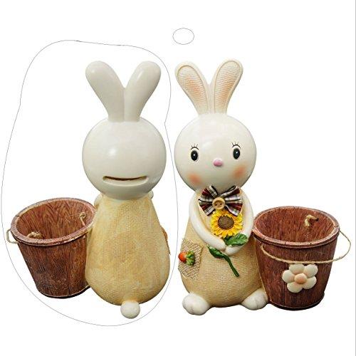 - BUOP Bunny Piggy Bank, Resin Rabbit Beside Bucket Statue, Pencil Holder, Rabbit Bank, Bunny Money Bank