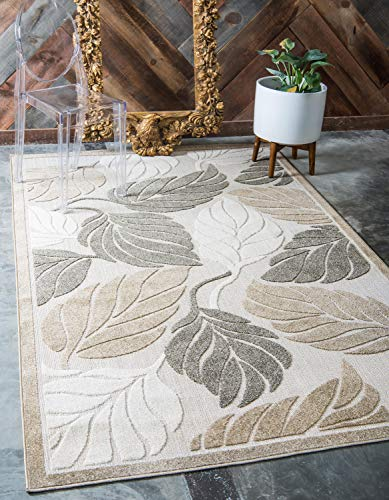 Unique Loom Outdoor Botanical Collection Warm Colors Leafs Transitional Indoor and Outdoor Flatweave Beige  Area Rug (4