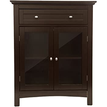 glitzhome wooden free standing storage cabinet with drawer and glass double doors. Black Bedroom Furniture Sets. Home Design Ideas