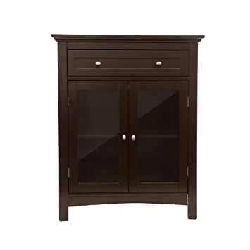 Etonnant Glitzhome Wooden Free Standing Storage Cabinet With Drawer And Glass Double  Doors, Espresso