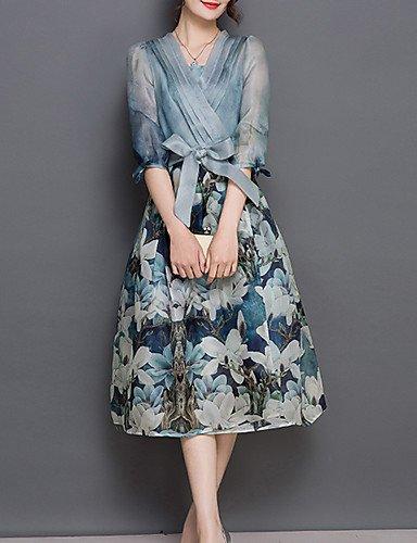 PU&PU Robe Aux femmes Trapèze Street Chic,Fleur Col en V Midi Polyester , blue-2xl , blue-2xl