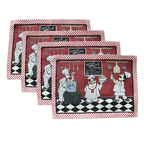 KEPSWET Cotton Linen Chef Placemats for Dining Table Set of 4 Red Washable Table Mats 13x19 Inch Rectangle (Chef Mats Table)