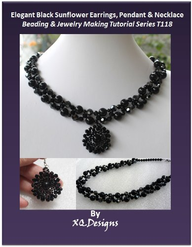Elegant Black Sunflower Earrings, Pendant & Necklace Beading & Jewelry Making Tutorial Series T118 ()