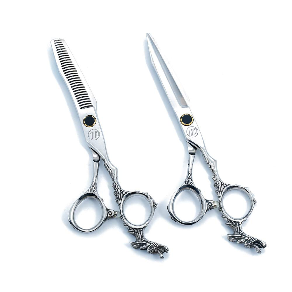 NSST 6.0 inch Hair Cutting Scissors European Retro Grip Tail Personality Modeling Japanese Stainless Steel 440c Steel Family Haircut thinning Scissors Set