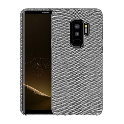 - Galaxy S9 Plus Fabric Case, Soft Cotton Texture Back Cover Protective Hard Case Phone Skin Protector Supports Wireless Charging for Samsung Galaxy S9 Plus 6.2 inches - Grey