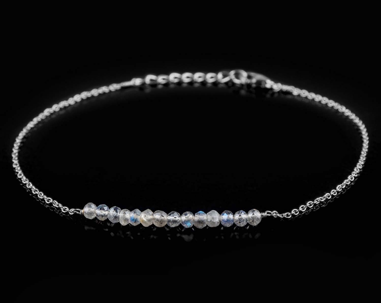 Stone of transformation JaguarBeads Best buy Natural Labradorite Stone Beaded Bar Handmade Bracelet Birthstone Jewelry inch 925 Sterling Silver 8