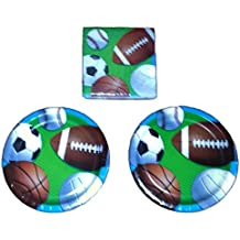 """Sports Party Baseball Football Soccer Fanatic Party Bundle 9"""" Plates (16) Lunch Napkins (16)"""