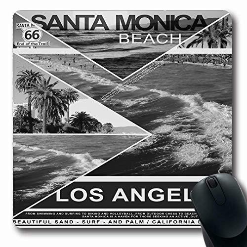 Ahawoso Mousepads Sport Graphic Montage Santa Monica Beach Parks Surf Angeles Sports Recreation Vintage California Oblong Shape 7.9 x 9.5 Inches Non-Slip Gaming Mouse Pad Rubber Oblong Mat (Best Delivery Santa Monica)