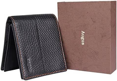 Men Leather Wallet AUGUS Card Case Holder/ Billfold Wallets for Man with Photo Window