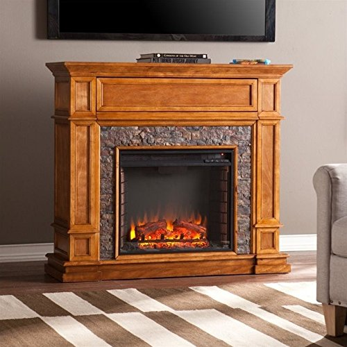 Southern Enterprises Belleview Faux Stone Fireplace TV Stand in Sienna Mission Stone Fireplace