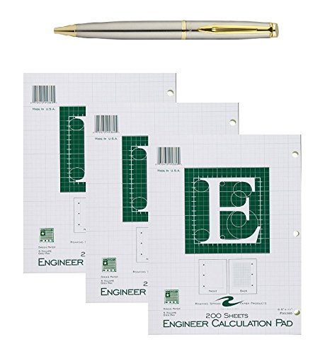Roaring Spring Engineering Pad, 8.5 x 11 Inches, Green, 200 Sheets, 3-Pack bundled with a Plexon Rollerball Pen