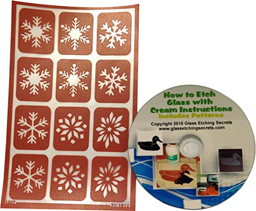 Armour Etch Over N Over Stencil, Snowflake Reusable Glass Etching Stencil with CD
