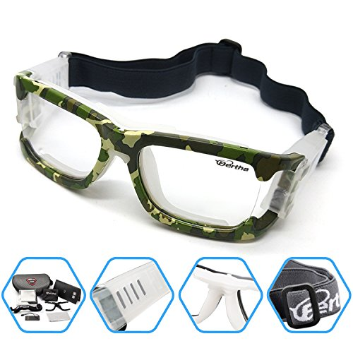 Bertha Outdoors Safety Sports Goggles Protective Glasses For Basketball Football Volleyball Baseball ect 1006 (Camo)