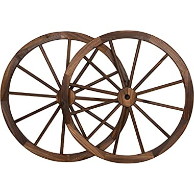 Decorative Vintage Wood Garden Wagon Wheel with steel Rim - 30  Diameter - by Trademark Innovations (Set of 2)