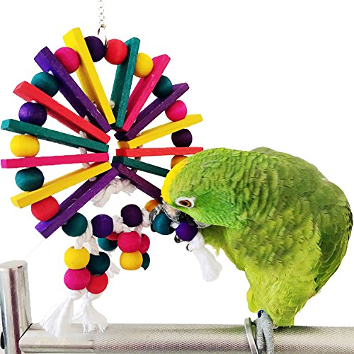 QBLEEVNatural Wood Parrot Toys Beads Sticks Handmade Small And Medium-sized Edible Dye Brightly Colored Chew Bird Accessories (Mulitcolored)