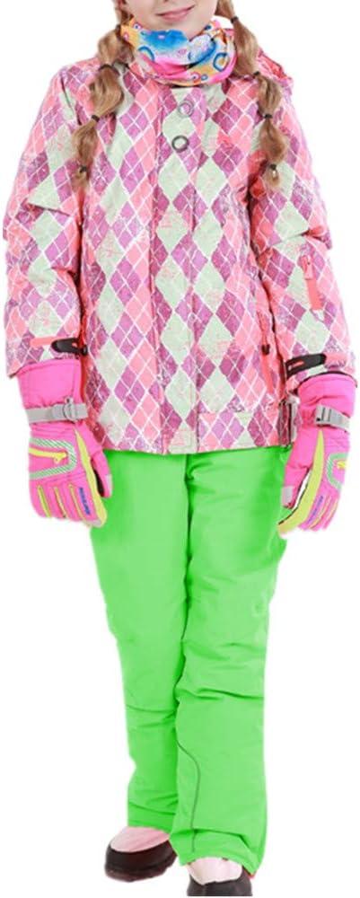 スキーウェア 女の子暖かい防風防水スノーシューズフード付きスキージャケットパンツ2個セット 耐性ジャケット (色 : 緑, サイズ : 134/140)