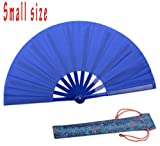 HONSHEN Small Chinese Hand Fan Blue Kung Fu Tai Chi Plastic- Nylon Hand Held Dance Folding Fans for Men/Women/Children with a Fabric Case for Protection 11.8inch (Blue)
